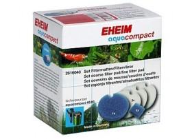 EHEIM 2 mousses bleues et 3 coussins d'ouate pour filtre Eheim AquaCompact 40 et 60