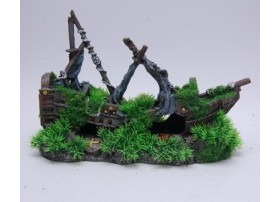 BOAT WITH MOSSY AND PLANT 320x140x210mm