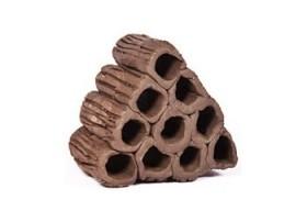 10 tubes argile en pyramide