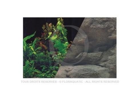 Décor de fond recto-verso Plantes + Noir / Roches - Hauteur 50 cm Longueur 80 cm