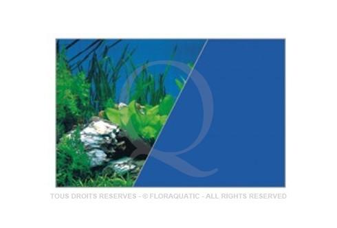 Autocollant De Fond D Aquarium Recto Verso Bleu Roches Hauteur
